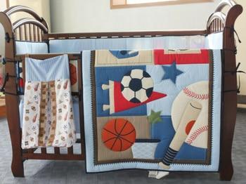 6pcs Boy Baby Bedding Set Sports Football Nursery Quilt Bumper Sheet Crib Skirt Crib Bedding Set  Baby Bed Crib Bedding Set