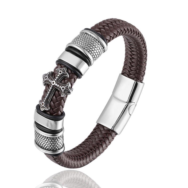 New style and powerful men stainless steel 16 strands vintage leather bracelet metal cross leather bracelet jewelry Mens giftNew style and powerful men stainless steel 16 strands vintage leather bracelet metal cross leather bracelet jewelry Mens gift
