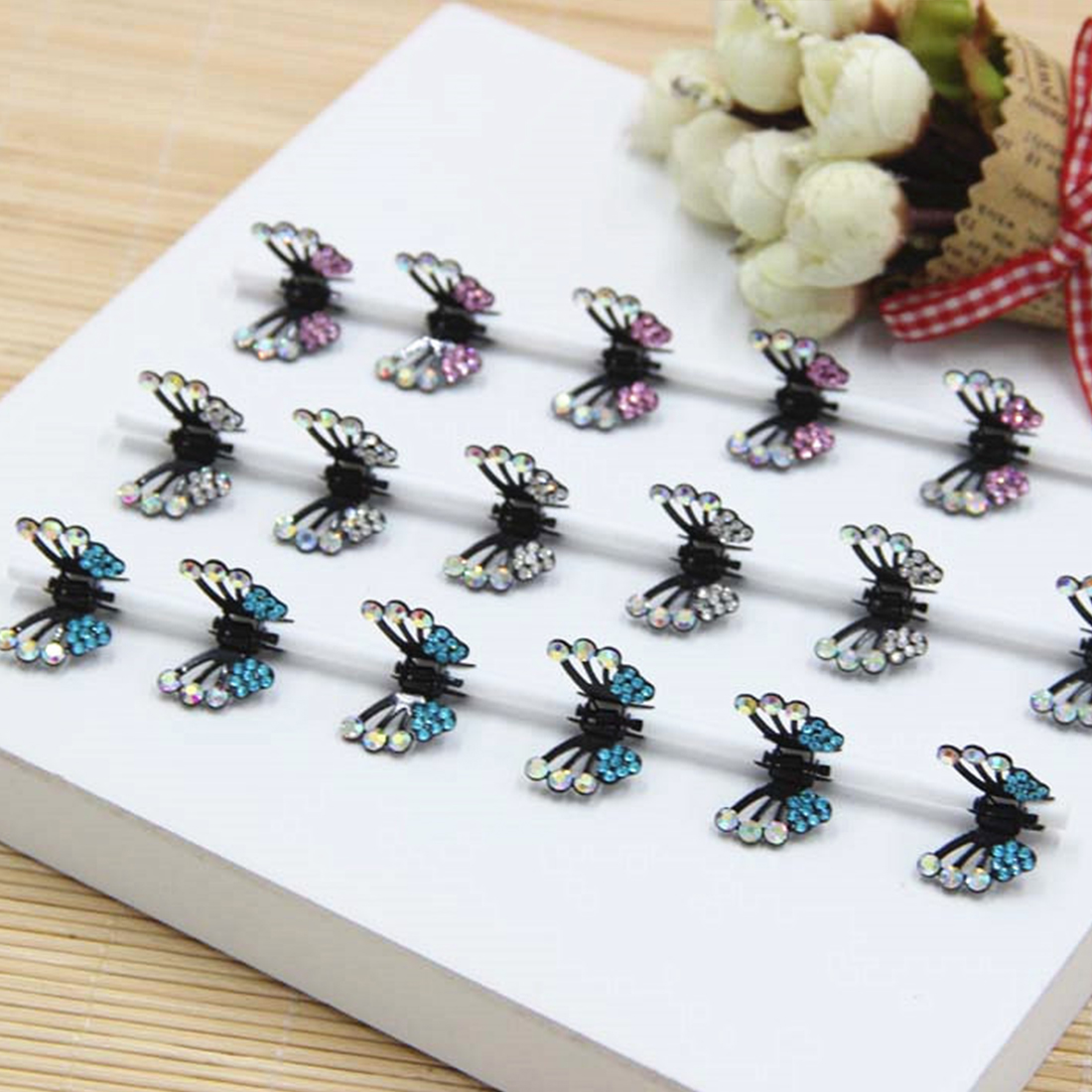 6 Pcs/Lot Mini Hair Accessory Hair Clip For Girls Artificial Rhinestone Butterfly Shape  Hair Claw Hairpins Ladies Women Girls