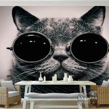 Beibehang Custom wallpaper European wear sunglasses cat cute playing cool childr