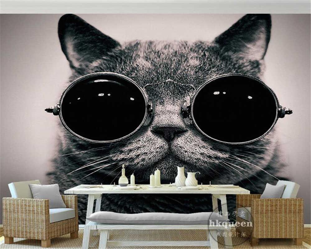 Beibehang Wallpaper Kustom Eropa Memakai Kacamata Hitam Kucing Lucu Bermain Keren Anak Kamar Latar Belakang Dinding.jpg q50
