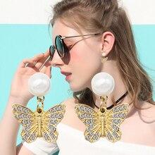 LYIYUNQ Fashion New Butterfly Rhinestone Earrings For Women Classic Round Pearl Stud Earring Vintage Crystal Party Jewelry lyiyunq office style jewelry trendy round pearl stud earrings for women classic water drop rhinestone earring for gifts