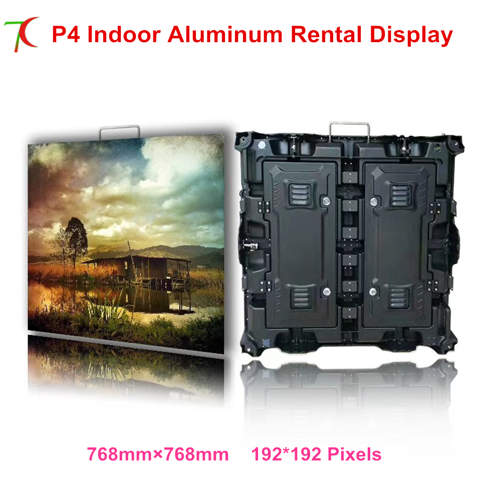 768*768mm P4 indoor die-casting aluminum cabinet display for meeting room or rental business
