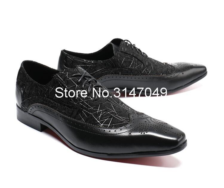Homens Sapatos de Couro Preto Homens de Impressão S Vestido Casual Shoes Lace Up Sapatos Masculinos Feitos À Mão Plana Grande Tamanho Do Dedo Do Pé Quadrado sapatos de Casamento do noivo - 3
