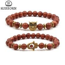 HOBBORN Trendy Natural Stone Men Bracelet High Quality Sandstone Beads Strand Hand of Fatima Owl Head Charm Women Bracelets Cruz