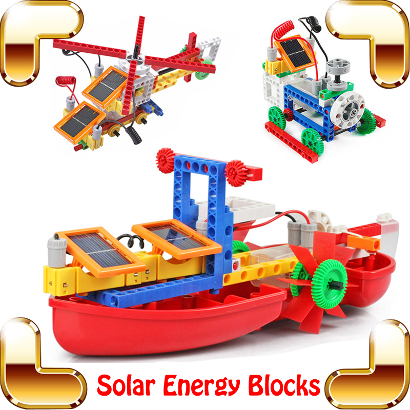 New Idea Gift Solar Energy Blocks Toy Transfer Boat Car Train Electric Toys For Children Education DIY Game Tool Bricks Outdoor