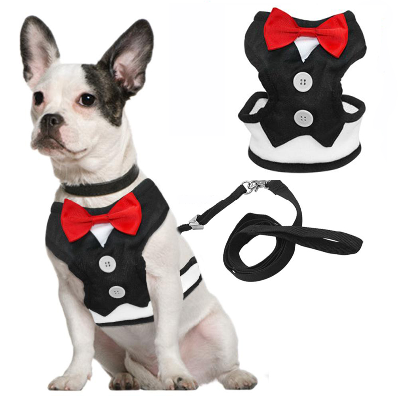 Fashion Red Bowtie Gentleman Suit Boy Dog Tuxedo Easy Walk Harness Vest Dog Leash Leads Set For Small Medium Dogs Clothes S M L