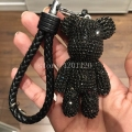 rhinestone teddy bear keychains car keyring keychains cute animal key chains bag handbag purse charms genuine leather rope strip