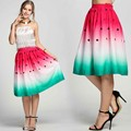 Summer Women Midi Pleated Skirts 2016 Vintage Watermelon Printed Ball Gown High Waist Flared Knee Length Skirts Saias