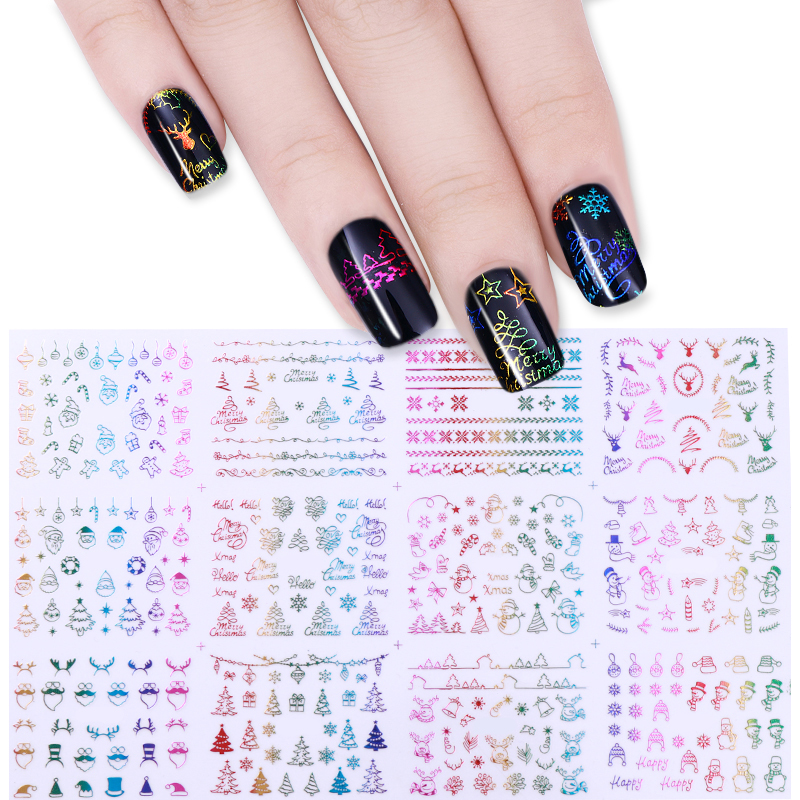 Santa Claus Nail Art: 12Pcs Christmas 3D Nail Sticker Santa Claus Deer Tree