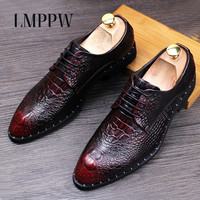 Luxury Brand Male Crocodile Genuine Leather Shoes British Fashion Pointed Toe Wedding Party Shoes Popular Men