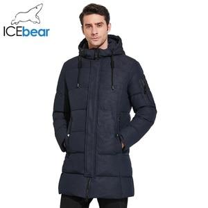Image 2 - ICEbear 2019 Mens חורף מעיילי אמצע ארוך חלק מתכת רוכסן צווארון עומד פשוט נאה חורף מעיל גברים 17MD933D
