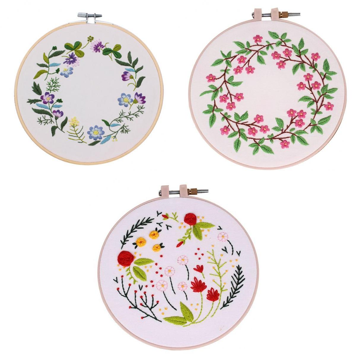 Hot Sale 3pcs Leaf Floral Hand Embroidery Cross Stitch Patterns