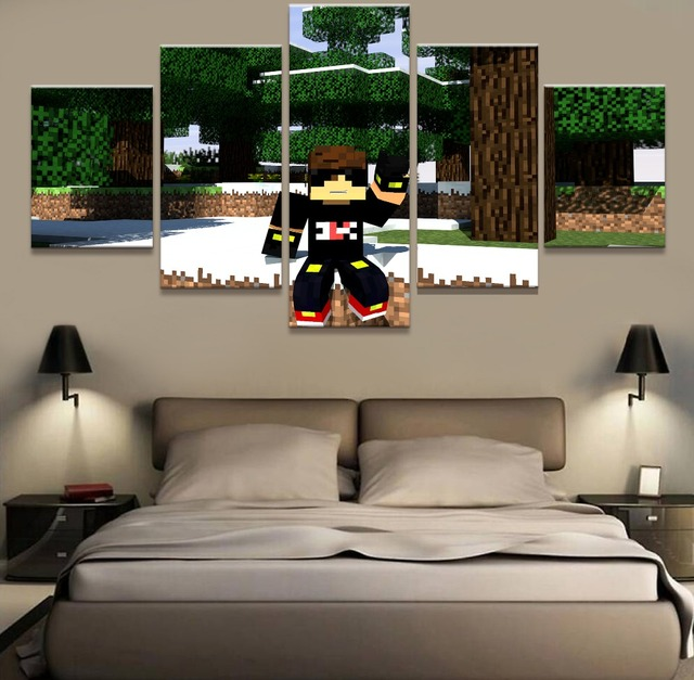 Minecraft Wall Decorations aliexpress : buy 5 piece modern decorative minecraft paintings