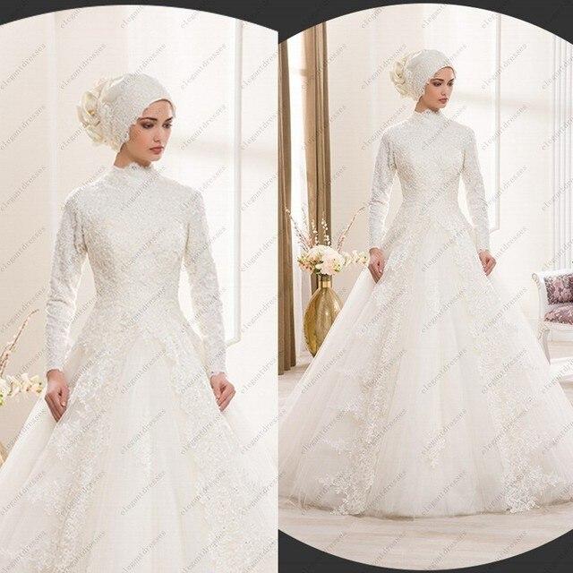 f3e0ec69b7d29 فستان الزفاف التقليدية العربية الإسلامية فستان الزفاف الأبيض عالية الرقبة  طويلة الأكمام رداء دبي العربية العباءات