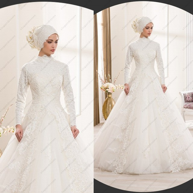 Traditional Long Sleeve Wedding Gowns: Islamic Wedding Dress Traditional Arabic Wedding Dress