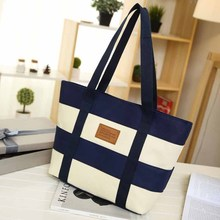 SPECIAL OFFER! Striped Design Canvas Beach Tote Bag