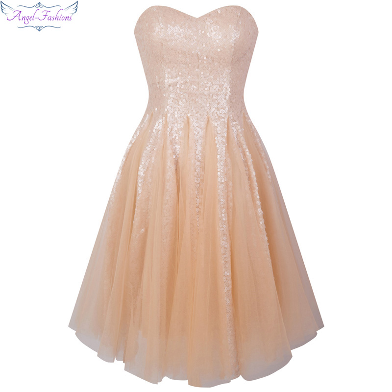 Angel-fashions Sweetheart Wedding   Bridesmaid     Dress   Pink Sequin Ball Gown 370