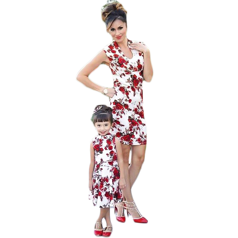 2019 New Mom and Me Matching Printed Parent-child Wear Casual Print Dress Sleeveless O-neck Family Look Mommy Dresses