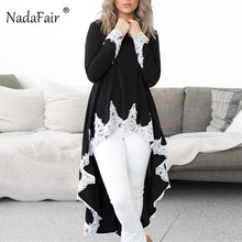 Nadafair Long Sleeve Lace Blouse Women Elegant Asymmetrical Long Shirts Female Loose Autumn Winter Chiffon Blouse Lace Top Lady