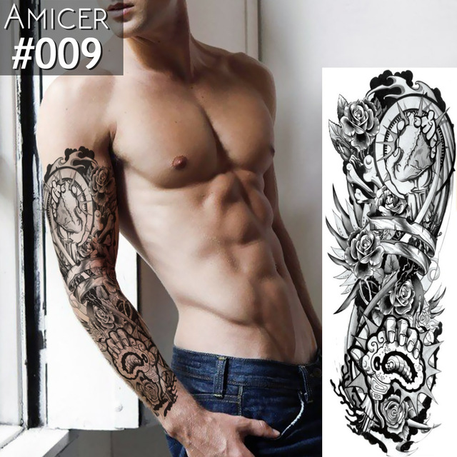 Temporary Tattoo Sticker Pray Mechanical Design Full Flower Tattoo with Arm