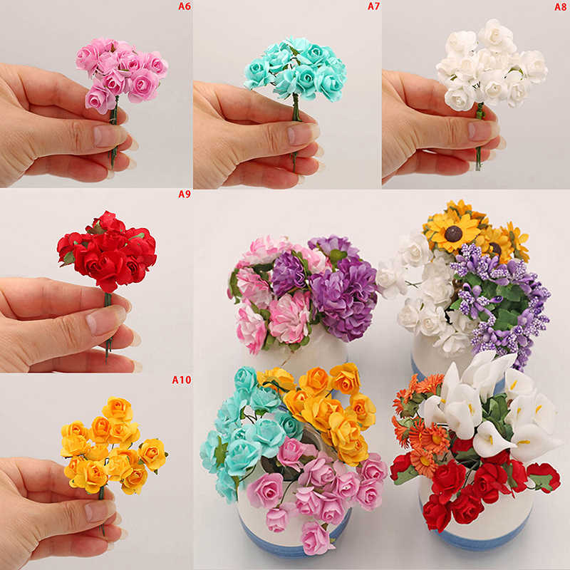 10 Styles Handmade Bouquet Artificial Flowers For Doll House Fake Purple Lavender Carnation Rose Sunflower Calla lily Doll Decor