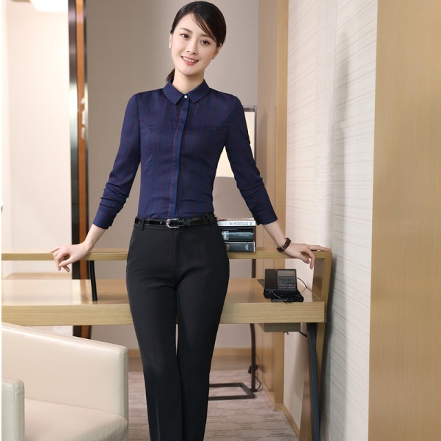 44c21ebc45c Formal Pantsuits With 2 Piece Blouses And Pants Elegant Slim Fashion Female  Pants Suits Ladies Office Work Wear Sets Plus Size