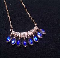 925 Silver Jewelry Rose Gold Inlay Natural Blue Moonstone Female Money Chain Pendant Necklace Clavicle Row