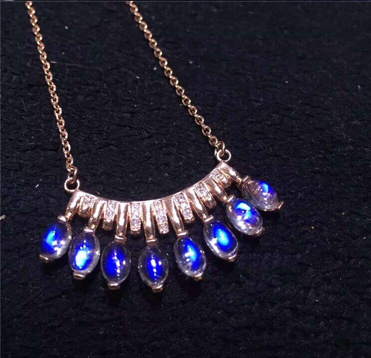 925 silver plated rose gold inlaid natural blue moonstone Female money chain pendant necklace clavicle row