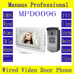 Latest Wired Magnetic Lock One to One Video door phone,Smart Home 7 inch Screen Display RFID Video Intercom Phone D96b