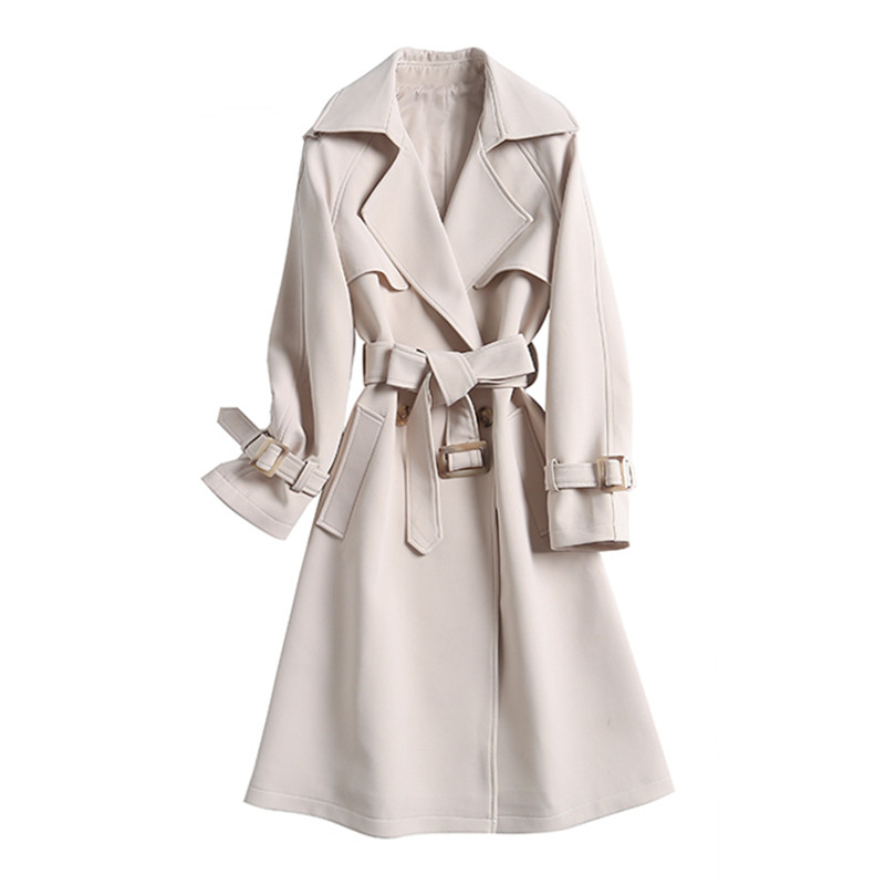 2019 Fashion High end Women Long   Trench   Coat Autumn New Double Breasted Casual Coats Rice white Outwear Female Spring V656