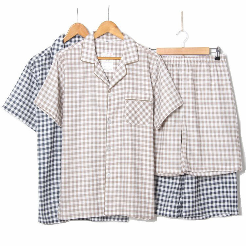 Men 2019 Plaid Pajamas Cotton Summer Men Sleep Short Pants Pijamas Sleepwear Night Suit Casual Homewear Male Pyjama Set 2pcs/Set