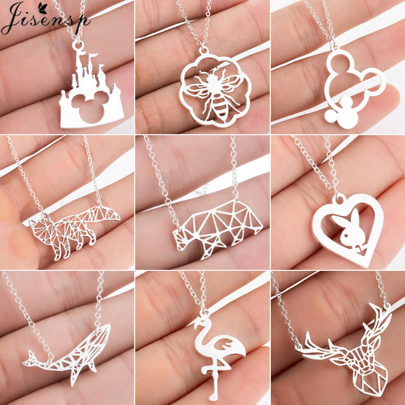 Jisensp Cute Bear Whale Fox Pendants Womens Necklace Stainless Steel Jewelry Mouse Animal Mickey Necklaces Collier naszyjnik