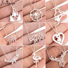 Jisensp Cute Bear Whale Fox Pendants Womens Necklace Stainless Steel Jewelry Mouse Animal Mickey Necklaces Collier naszyjnik(China)