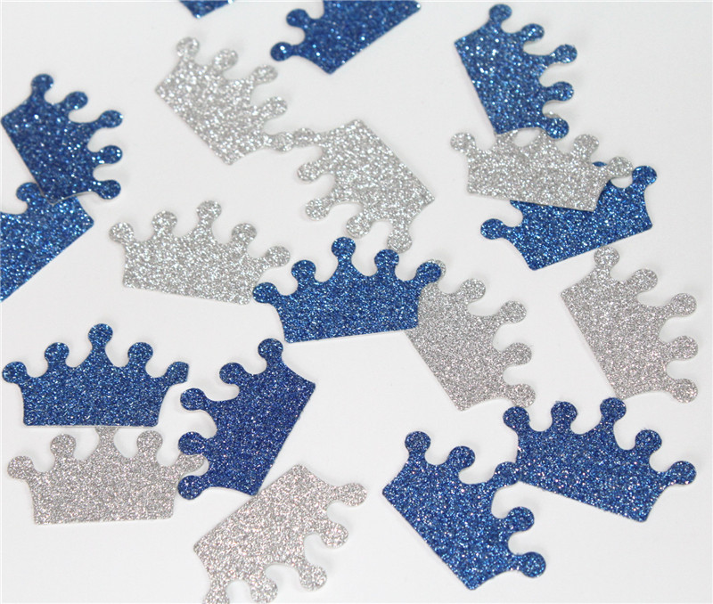 150 Royal Blue silver Prince Tiara Crown Confetti Baby boy shower Party Decorations Prince Crowns 1st first birthday decorations