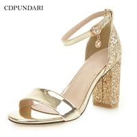 CDPUNDARI Gold Silver Ladies Big Size High heel Sandals Women summer shoes woman chaussures femme ete 2018 sandalias mujer