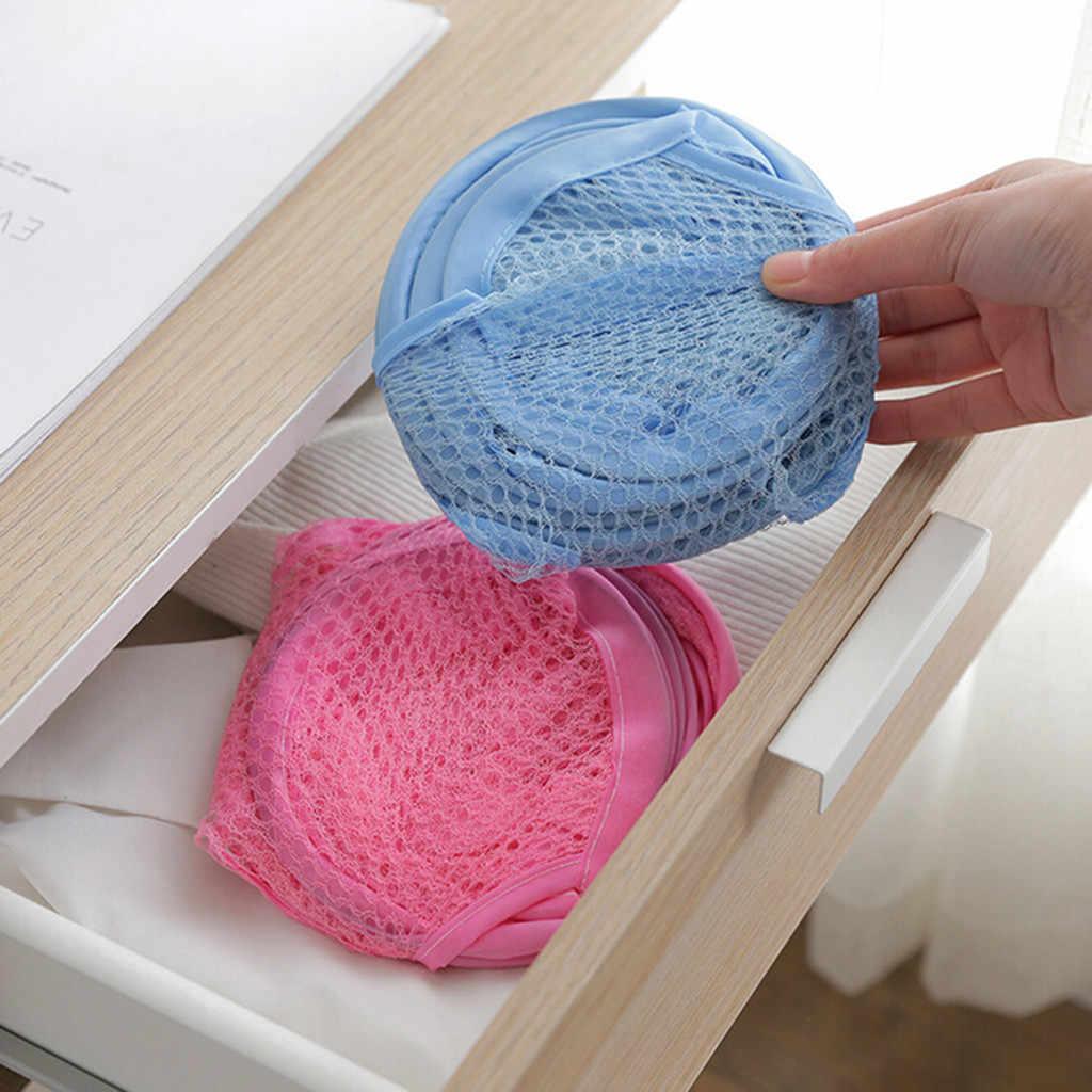 ตะกร้าซักผ้า 2 pc พับตาข่ายสุทธิ Hamper ตะกร้าเก็บ (การจัดส่งสีแบบสุ่ม) a90507
