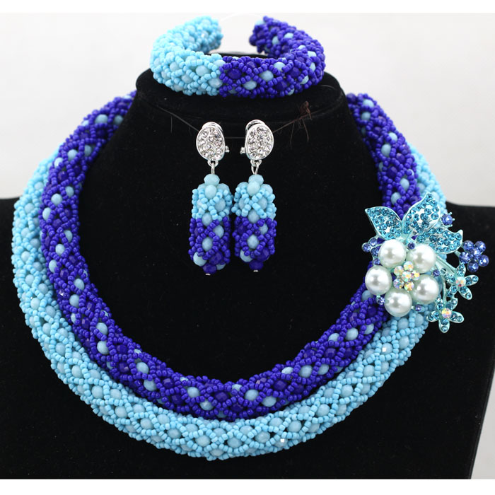2017 Simple African Royal Blue Beads Necklace Set 2 Rows Nigerian Wedding Jewelry Set Crystal Jewelry Set Free Shipping QW195