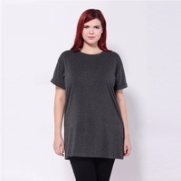 Women Fashion O Neck Short Sleeve Dark Gray Casual Loose Basic T Shirt Top Tee
