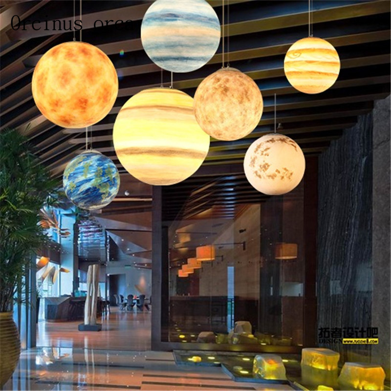 Postmodern minimalist creative earth moon chandelier living room dining room cosmic planet resin chandelier free shipping