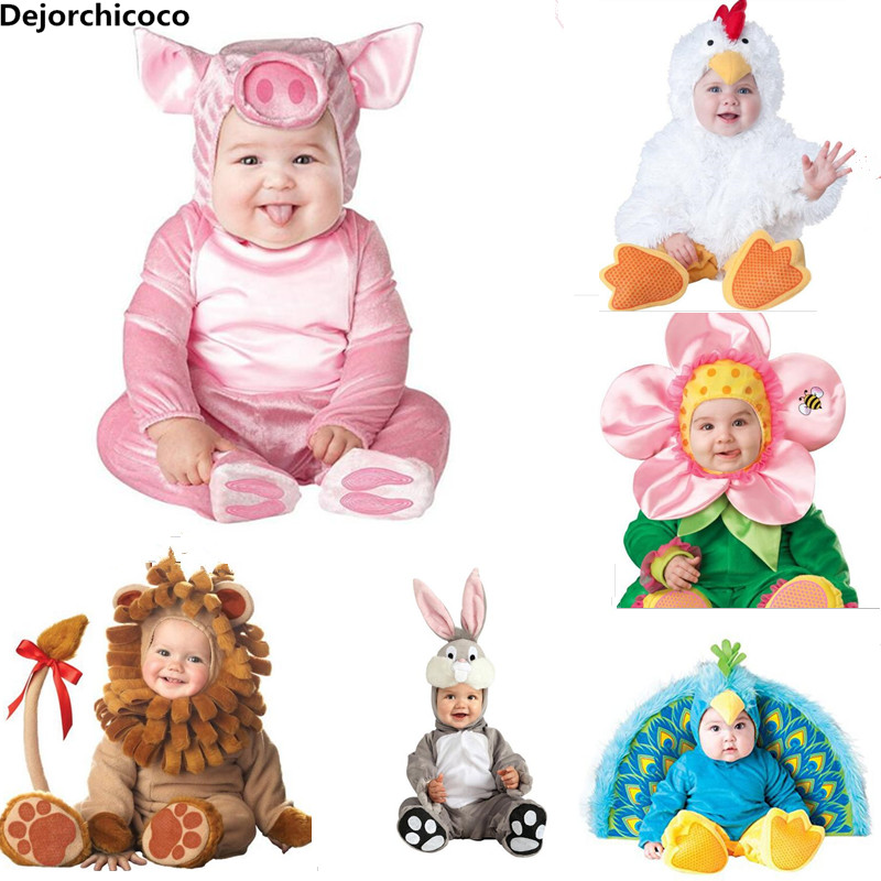 2018 New Fashion Baby Halloween Rompers Cute Animal Cosplay Boys Jumpsuits Pink Pig Girls Shape Baby Costumes Infants Clothes halloween costumes clown dressed up acting cute nose red