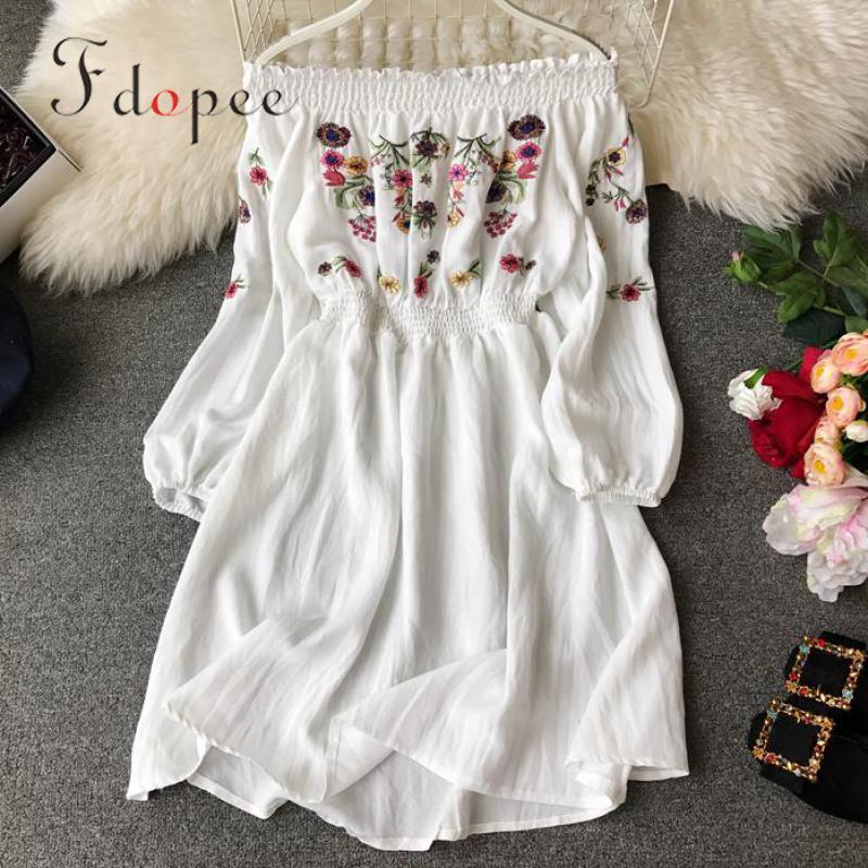 Female Plus Size Women Dress Exposed Shoulder Embroidery Lantern Sleeve Comfort Slash Neck High Waist Slim Elegant Vestidos
