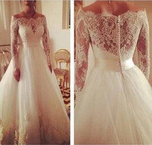 Charming Newest Off Shoulder Pearl Buttons Long Sleeve Lace Wedding Dress 2015