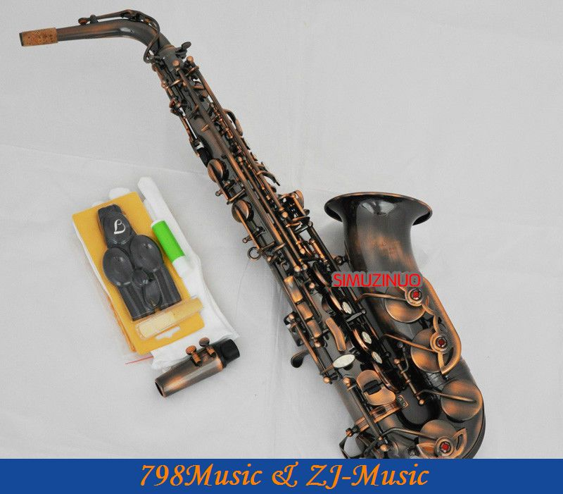 Professional Red Antique Alto Saxophone Sax High F# Engraving With Case professional red antique alto saxophone sax high f engraving with case