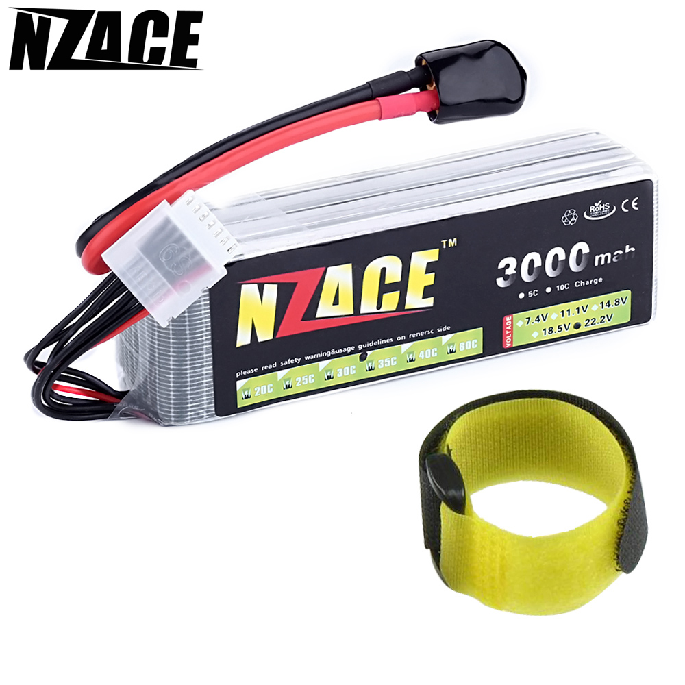 NZACE 6S lipo battery 22.2v 3000mAh 35C rc helicopter rc car rc boat quadcopter remote control toys Li-Polymer battey mos 2s lipo battery 7 4v 3300mah 35c for rc helicopter rc car rc boat quadcopter li polymer battey