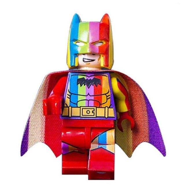Rainbow Batman Coleção Figuras Marvel Superheroes Spiderman Raytheon Compatível Duplo Blocos de Construção DIY Brinquedos para Crianças