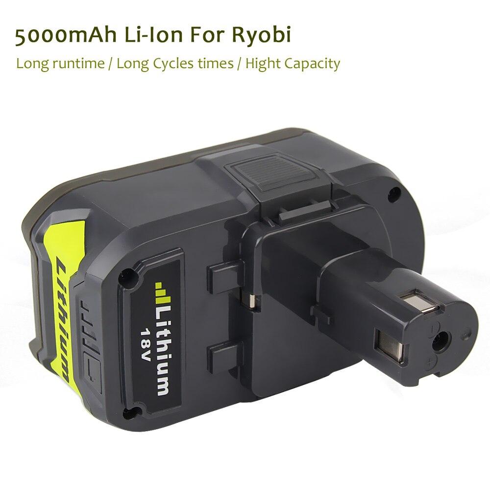 Os mais recentes de Alta Capacidade 18 v 5000 mah Li ion Bateria Recarregável Para Ryobi P108 P107 P104 RB18L40 Para ONE + Com 12 18 v P117 Carregador - 3