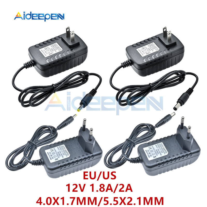 DC <font><b>12V</b></font> 1.8A 2A Power <font><b>Adapter</b></font> Supply US/EU Plug 4.0X1.7MM 5.5X2.1MM Interface <font><b>AC</b></font> 100-240V Input 50/60Hz Line Length 1M image