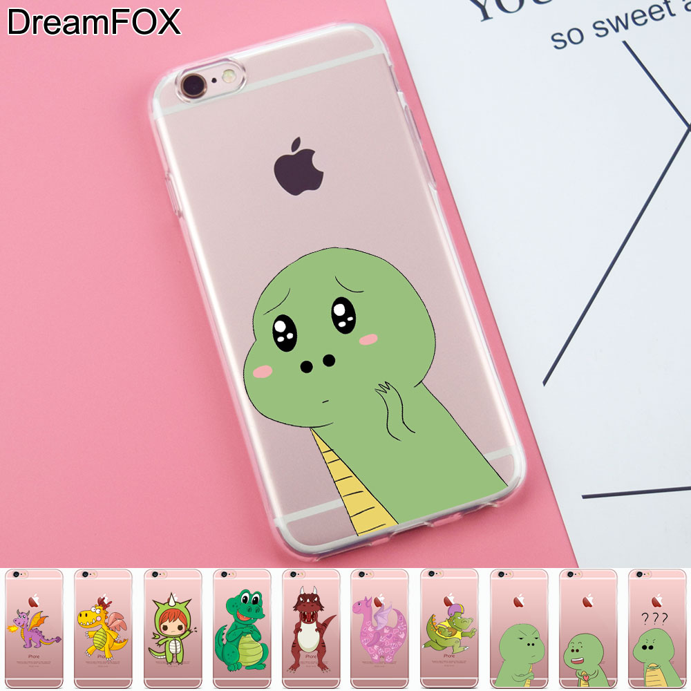 L282 Fashion Dinosaur Design Soft TPU Silicone Case Cover For Apple iPhone X 8 7 6 6S Pl ...