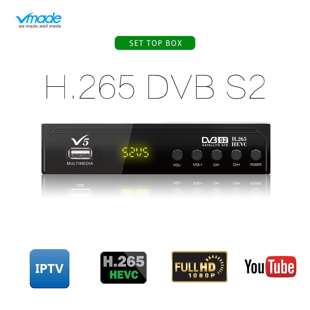 Vmade 2019 Newest TV Tuner DVB-S2 H.265 MPEG-2/4 HD 1080P Digital Satellite Receiver Support Youtube Bisskey AC3 Cccam IPTV Box